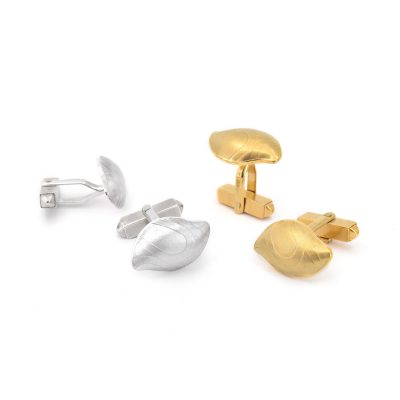 Gold and Silver Pebble Cufflinks C05 C06