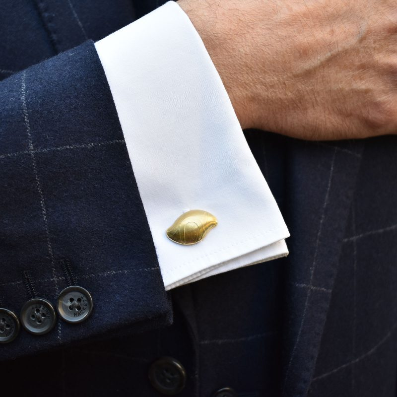 Gold Pebble Cufflinks Model C06
