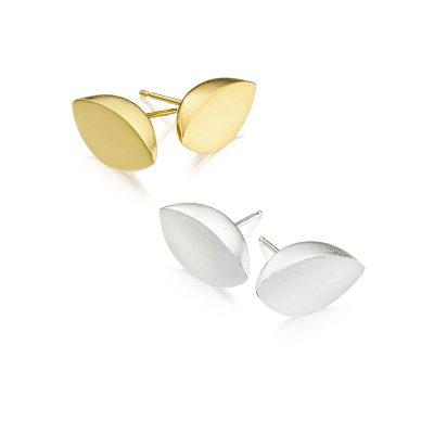 Leaf Gold and Silver Stud Earrings 02