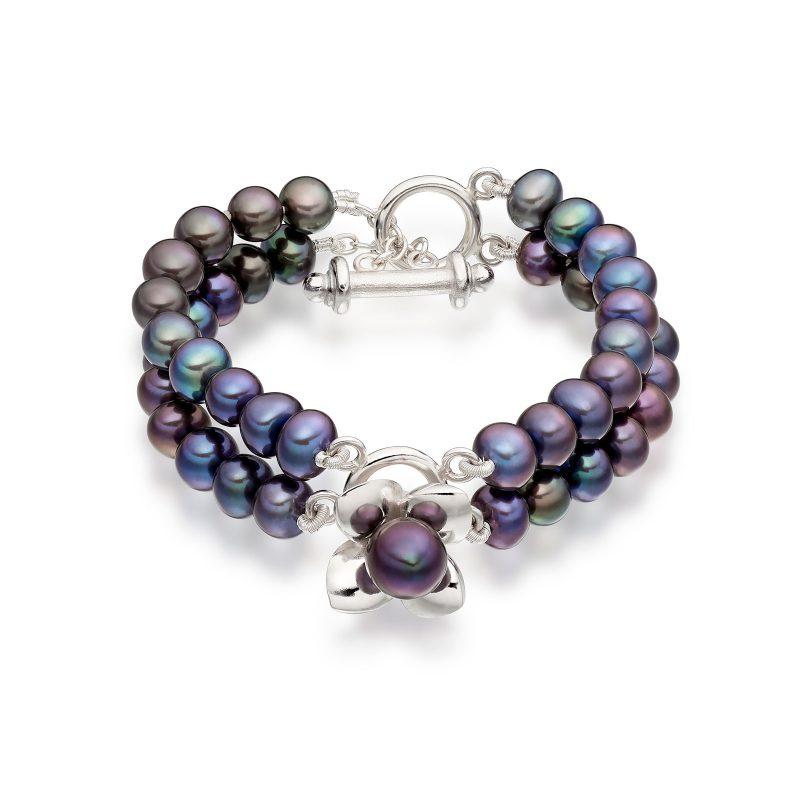 Peacock Blue Pearl Bracelet B01