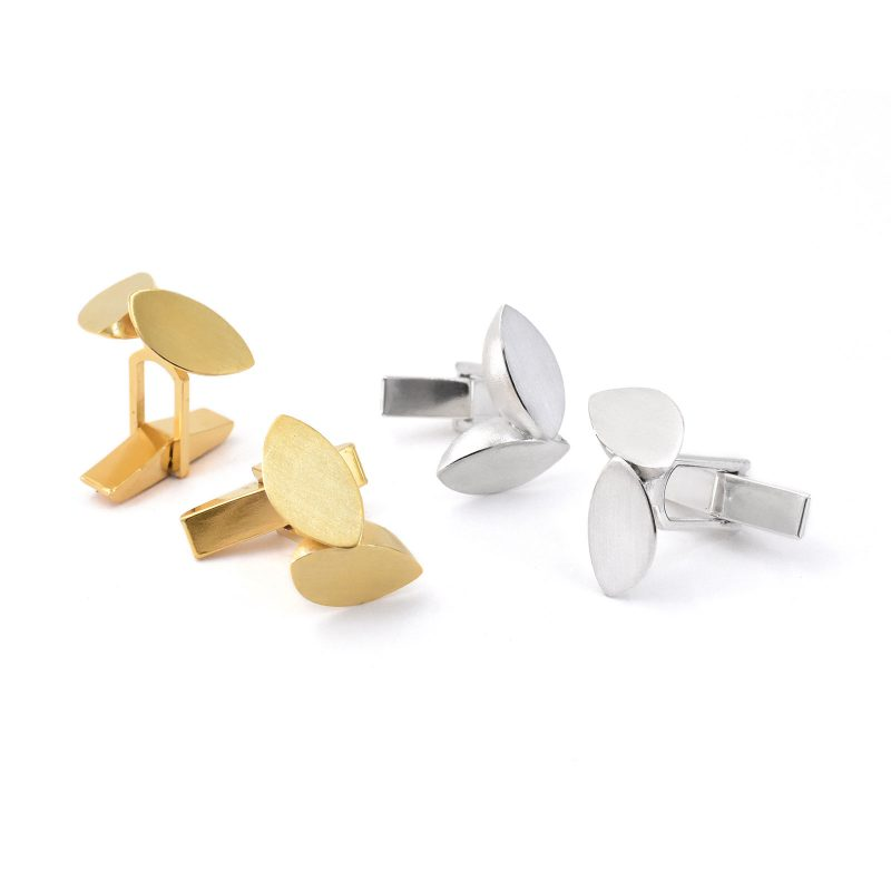 Double Leaf Cufflinks in Silver and Gold C01 C02