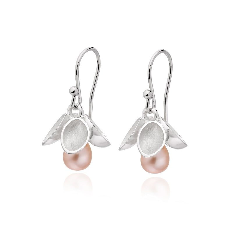 Drop Pink Pearl and Silver Earrings E38
