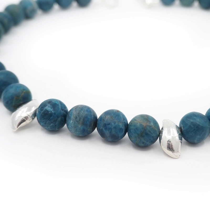 Teal Blue Agate Pebble Necklace N01