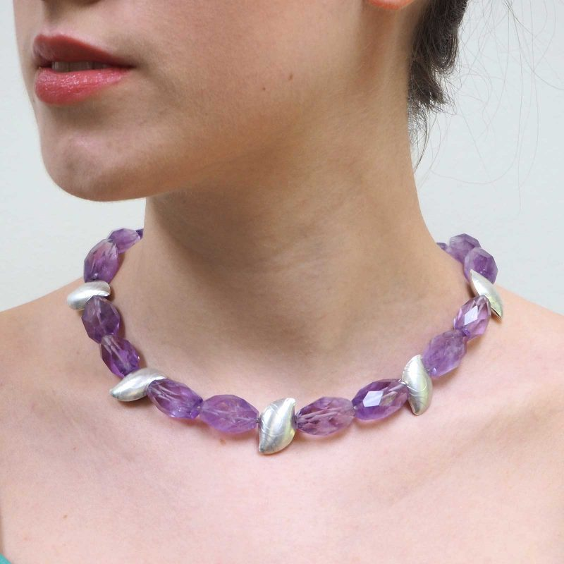 Amethyst Pebble Necklace Model N02