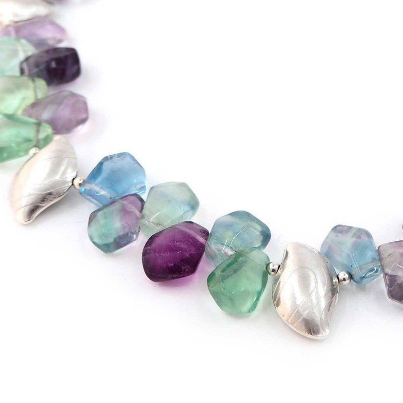 Rainbow Flourite Pebble Necklace N03
