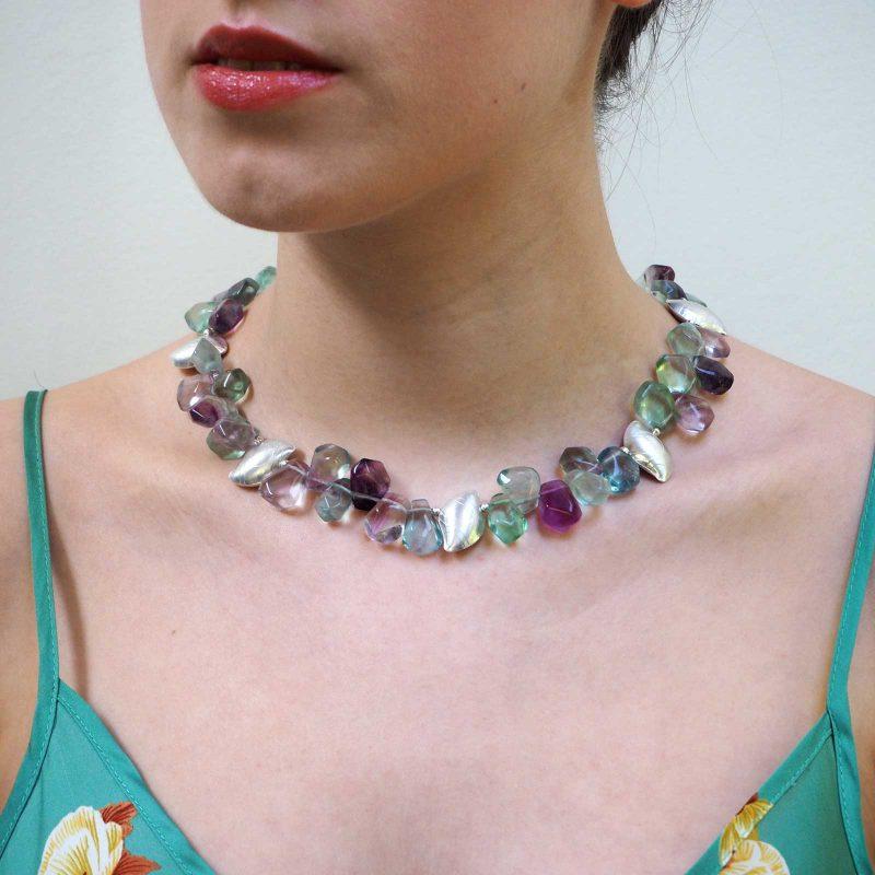 Rainbow Flourite Pebble Necklace Model N03