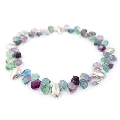 Rainbow Flourite Pebble Necklace N03