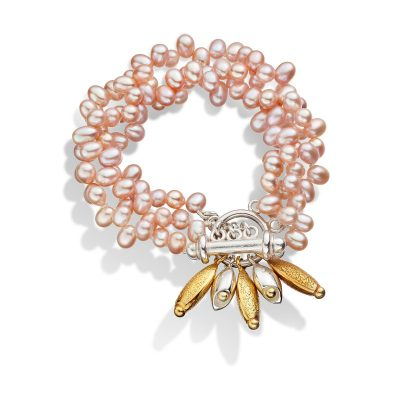 Pebble Pink Pearl Cluster Bracelet B10