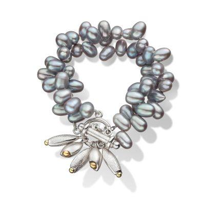 Pebble Grey Pearl Cluster Bracelet B11