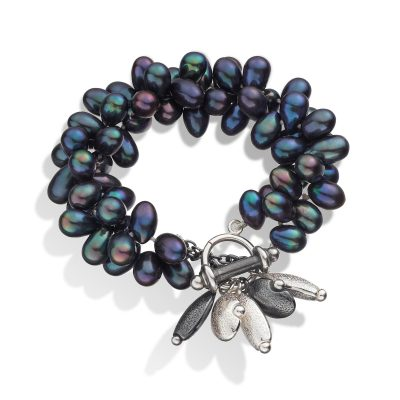 Pebble Peacock Blue Pearl Cluster Bracelet B12