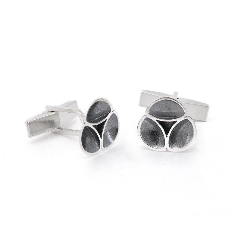 Oyster Oxidised Silver Cufflinks C09