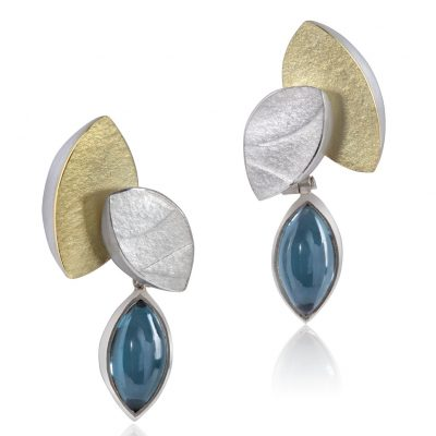 Topaz gold ans silver earrings