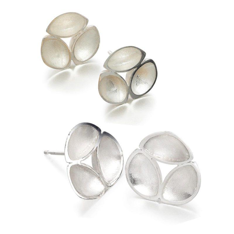 Silver Oyster Stud Earrings E07