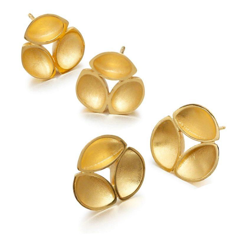 Gold Plate Oyster Stud Earrings E09