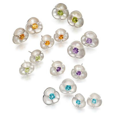 Oyster Gemset Stud Earrings E52 E53 E54 E55