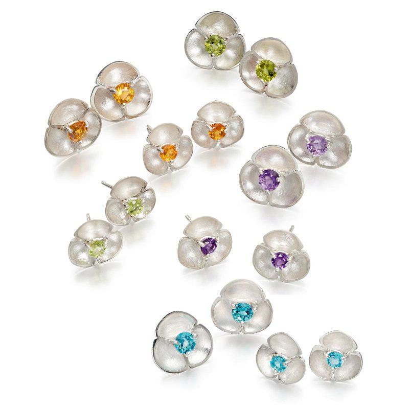 Oyster Gemset Stud Earrings E52 E53 E54 E55
