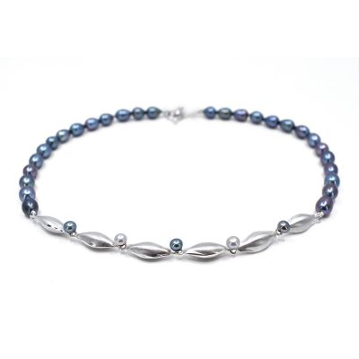 Freshwater Peacock Blue Pearl Necklace N07
