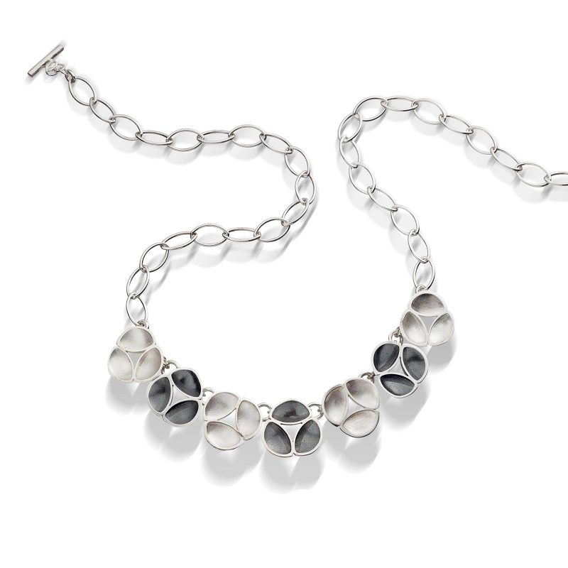 Oxidised Silver Link Necklace N09