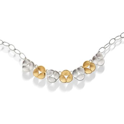 Silver and Gold Plate Oyster Link Necklace N10