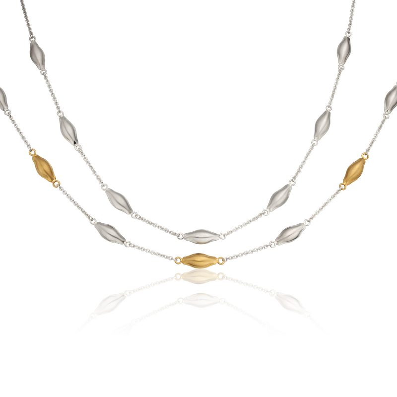 Silver and Gold Pod necklaces