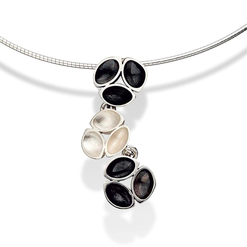 Oyster Oxidised Silver Cable Necklace P11