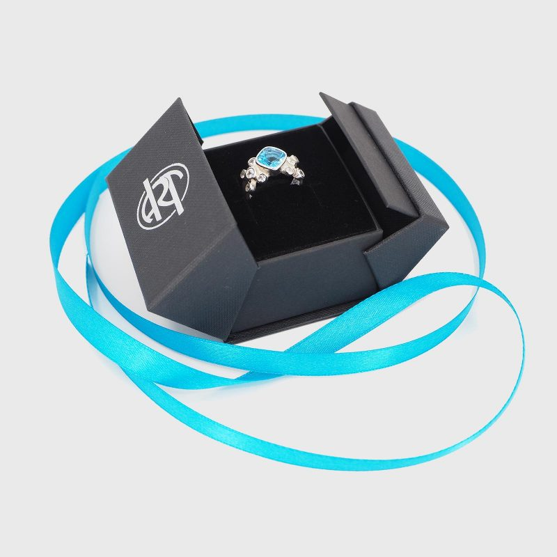 Artgems Packaging with Topaz and Diamond Ring