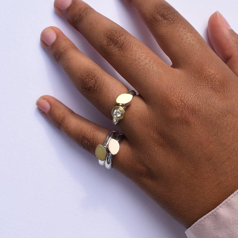 White Sapphire leaf ring