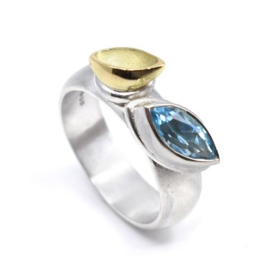Silver ring, Swiss blue Marquise topaz and 18ct yellow gold