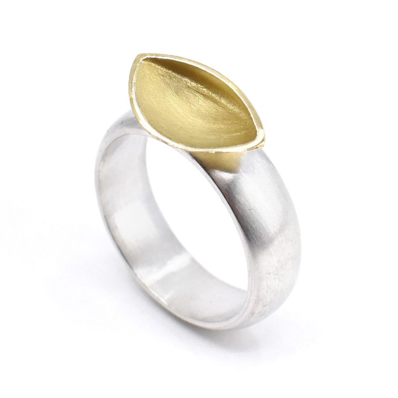 Silver ring and 18ct yellow gold