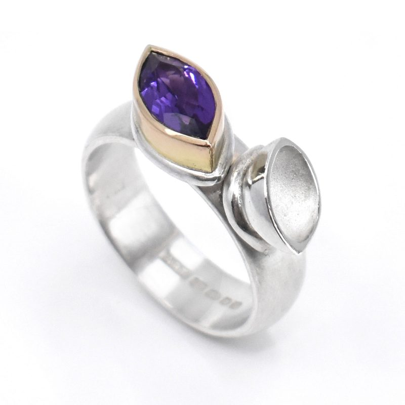 Silver ring, purple marquise amethyst and 18ct red gold