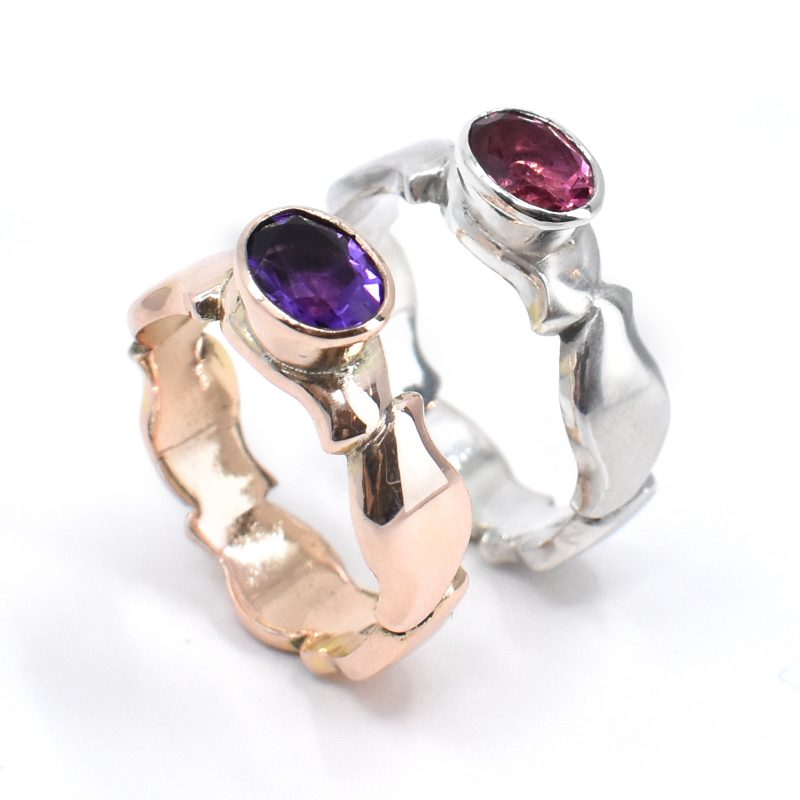 Gemset pebble rings