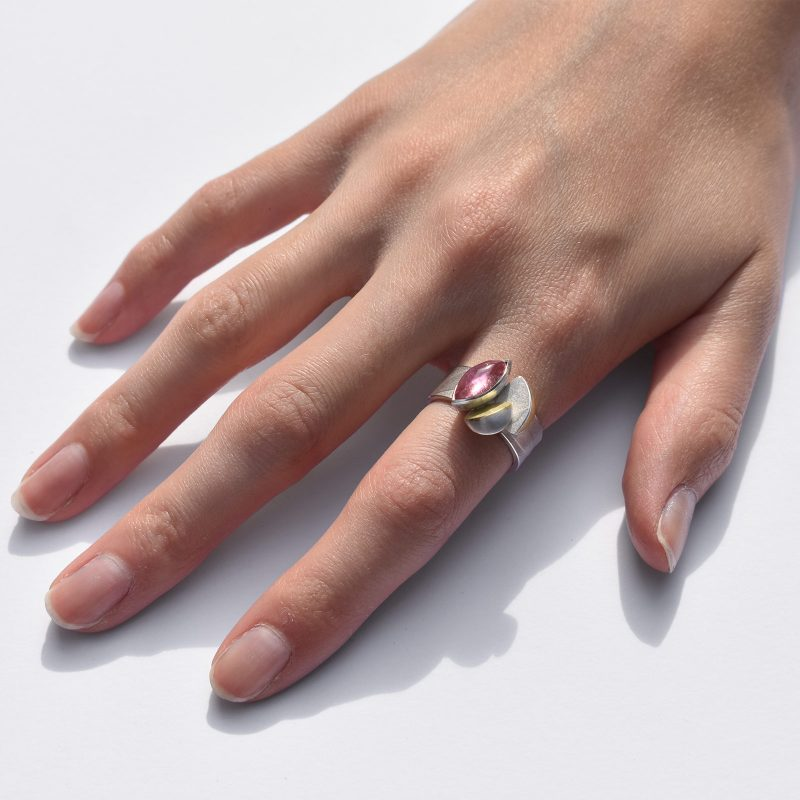 Silver and Gold Tourmaline Ring