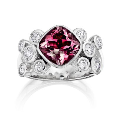 Rhodalite Garnet and Diamond Ring R04