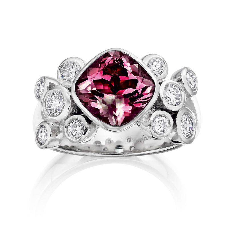 Rhodalite Garnet and Diamond Ring R04