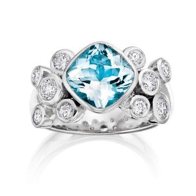 Topaz and Diamond Ring R03