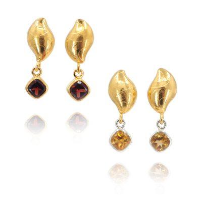 Gem Set Gold Pebble Earrings