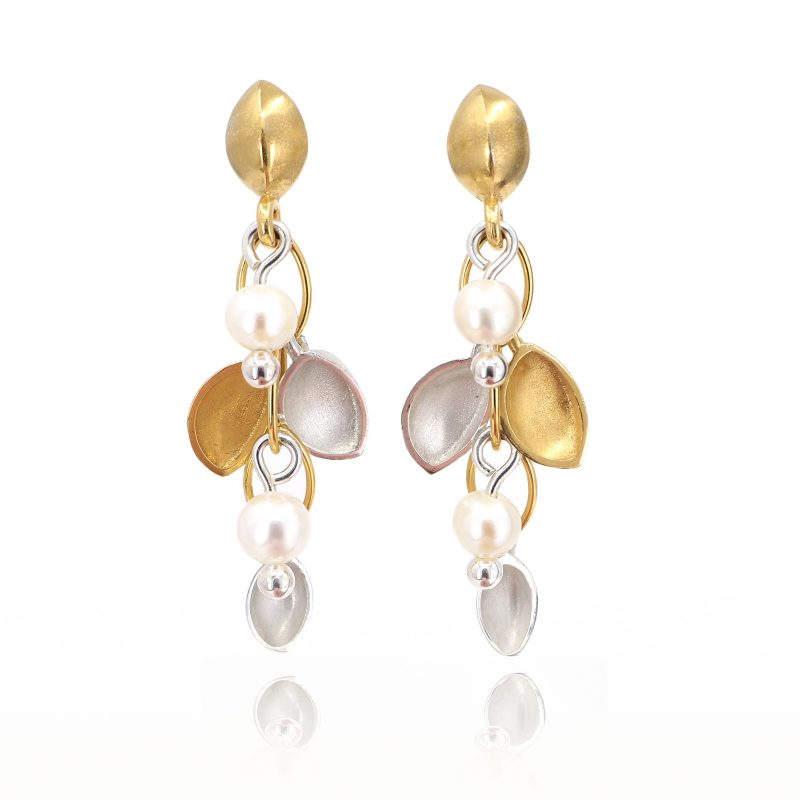 Oyster cluster Earrings in Gold and Silver