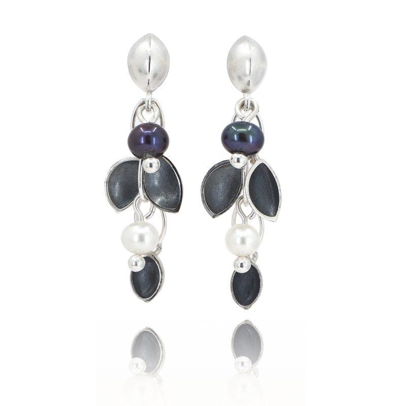 Oyster Oxidised Cluster Pearl Earrings